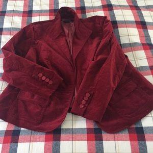 Red velvet blazer from Talbots